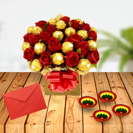 Diwali Roses and Rocher with Greeting Card & Diya