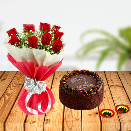Diwali Red Roses and  Chocolate Cake Combo