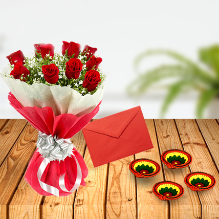 Diwali Red Roses with Greeting Card & Diya
