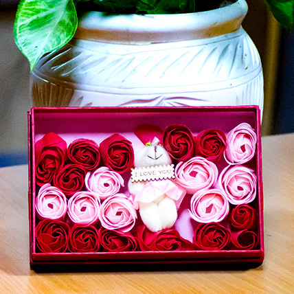 Beautiful Roses with Teddy Box