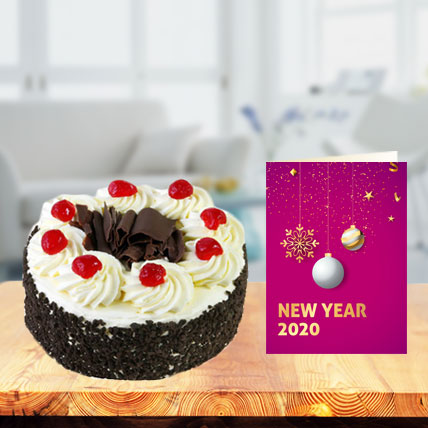 New Year Blackforest Cake with New Year Greeting Card