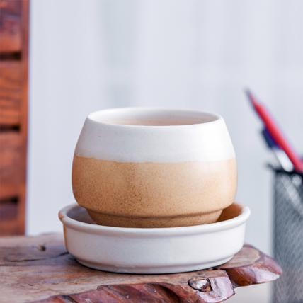 Jar Shape Round Ceramic Pot With Plate (White, Beige)