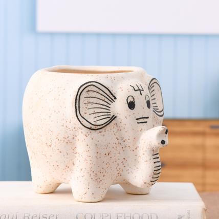 Elephant Shape Marble Finish Ceramic Pot (White)