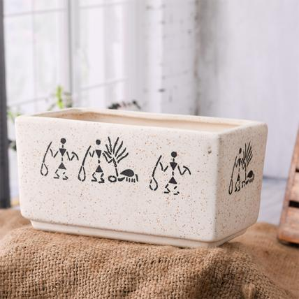 Warli Painting Marble Finish Rectangle Ceramic Pot (White)
