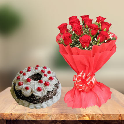 Special Black Forest Cake & Red Roses
