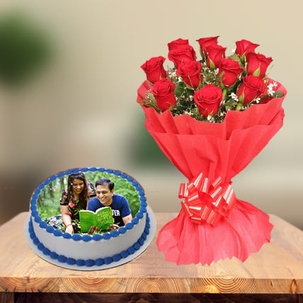 Photo Cake & Red Roses