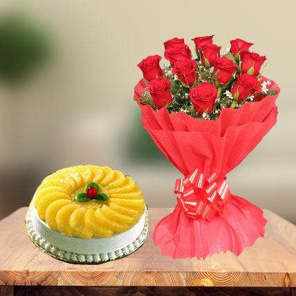 Premium Pineapple Cake & Red Roses