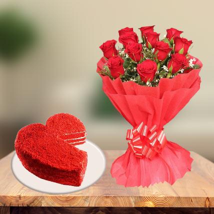 Red Velvet Heart Cake & Red Roses