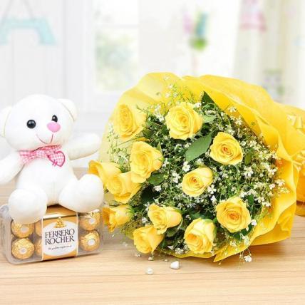 Yellow Roses, chocolate & Teddy Combo
