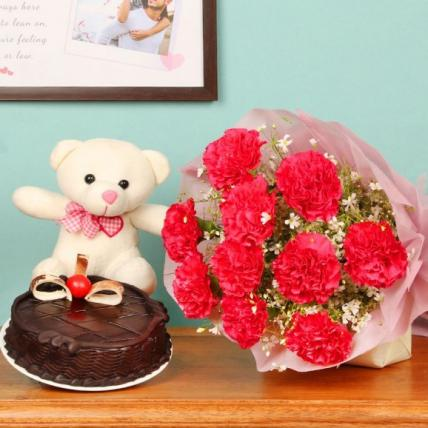 Beautiful carnation and chocolate cake Combo
