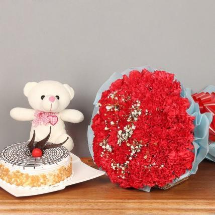 Beautiful carnation and butterscotch cake Combo