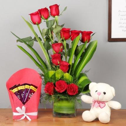 Gorgeous Red roses, teddy and chocolate Combo