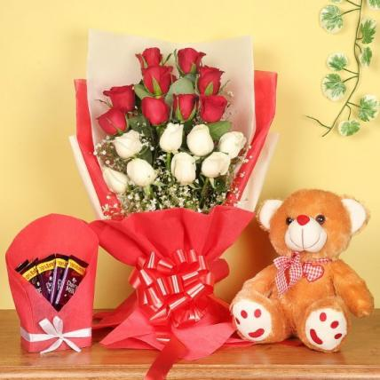 Cute Red roses, teddy and chocolate Combo