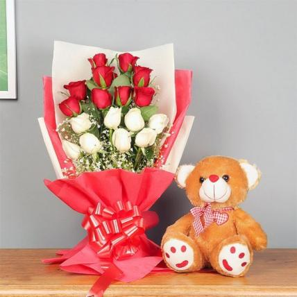 Elegant roses and teddy combo