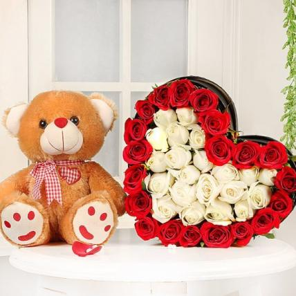 Box full of roses with teddy combo