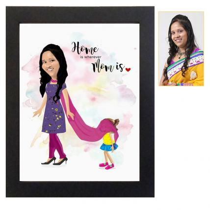 Cute mom caricature frame