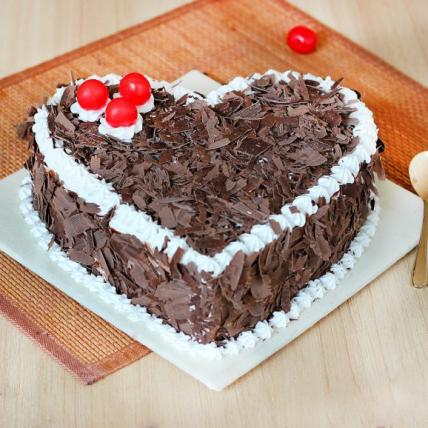 Delicious Heart Shape Blackforest Cake