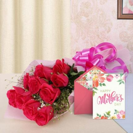Mothers Day Red Flowers and Card