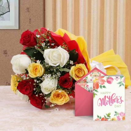 Mothers Day Mix Flowers and Card