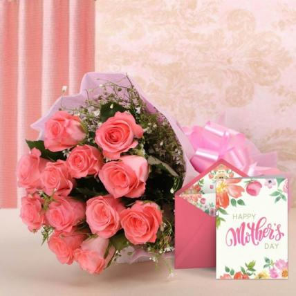 Mothers Day Pink Flowers and Card