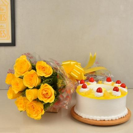 Sweet Yellow Roses and Cake Combo