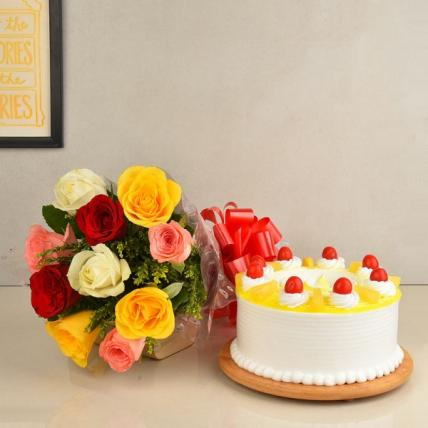 Sweet Mix Roses and Cake Combo
