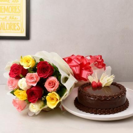 Elegant Mix Roses & Choco Combo