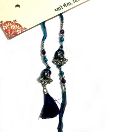 Blue Peacock Rakhi  and Lumba Set