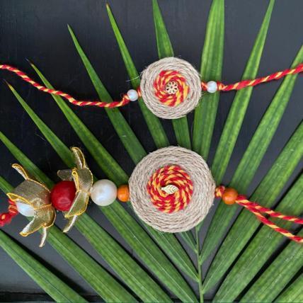 Handmade Jute Rakhi  and Lumba Set