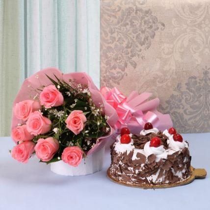 Black Forest Cake & Pink Roses
