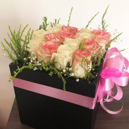 Beautiful Box of Pink & White Roses