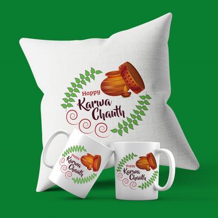 Happy Karwa chauth Mugs and Cushion Set