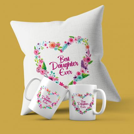 Best Daughter Ever Cushion Mug Combo