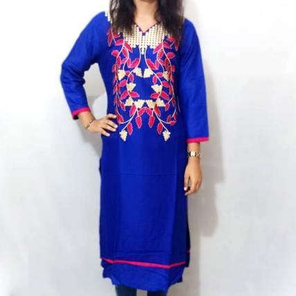 Ethnic Printed Blue Cotton Kurti