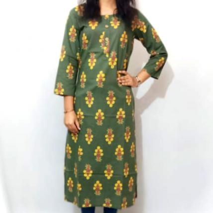 Embellished Green Cotton Kurti
