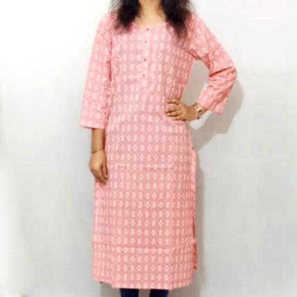 Printed Pink Cotton Kurti