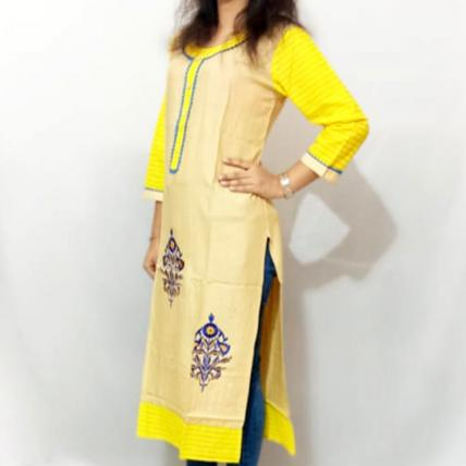 Embroidered Yellow Printed Cotton Kurti