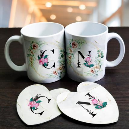 Personalised Initials Mugs and coasters set