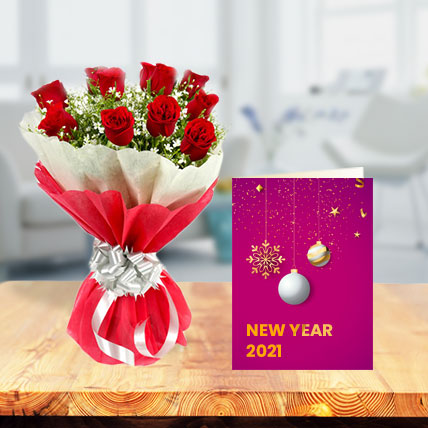 New Year Roses with New Year Greeting Card