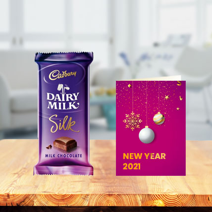 Dairy Milk Silk Chocolates with New Year Greeting Card