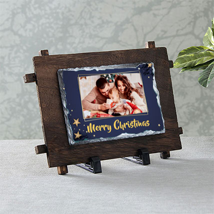 Christmas Stone with Wooden Stand
