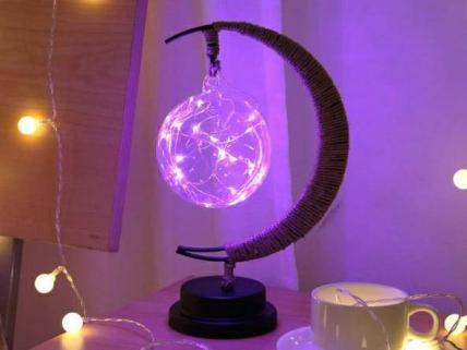 LED Moon Night Light Lamp Rattan Ball