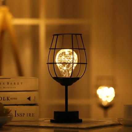Wine Glass LED Night Lamp (Hollow Iron)