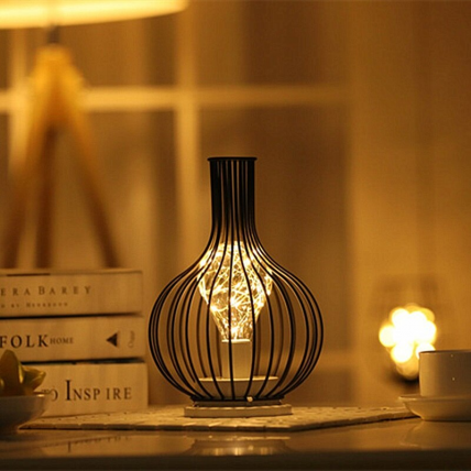 Wine Decanter Shaped Led Night Lamp (Hollow Iron)