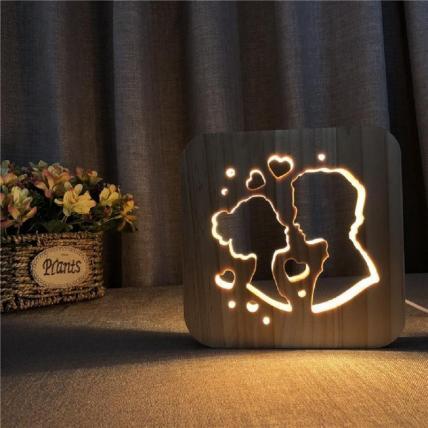 3D Wooden LED Night Light Lamp -  Couple