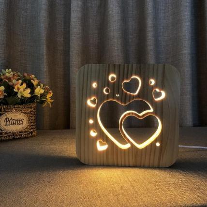 3D Wooden LED Night Light Lamp -  Hearts