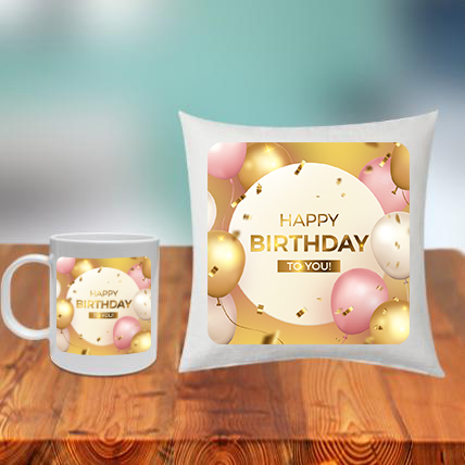 Birthday Cushion Mug Set