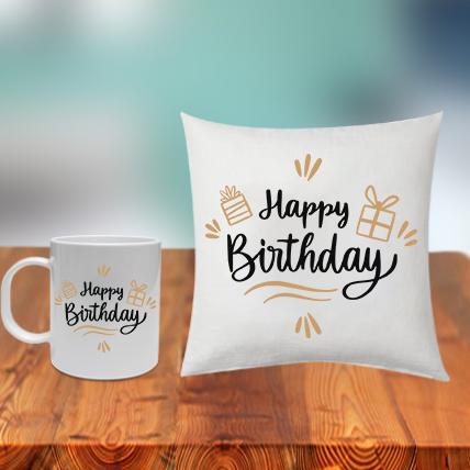 Birthday Cushion Mug Cute Combo