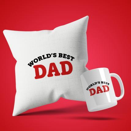 World Best Dad Cushion Mug Set