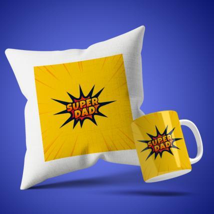 Super Dad Cushion Mug Set